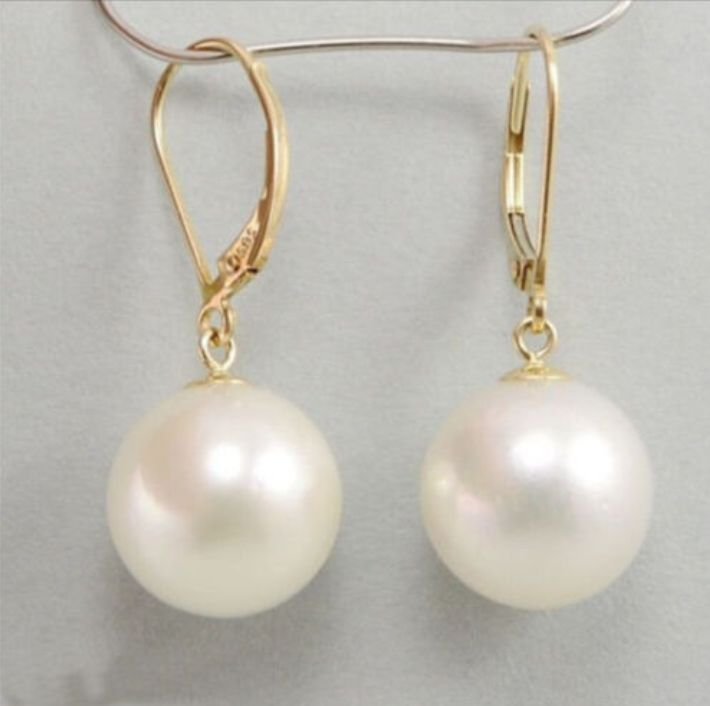 цена на free shipping NATURAL AAA Perfect circle 10-11MM SOUTH SEA WHITE PEARL EARRING 14k/20