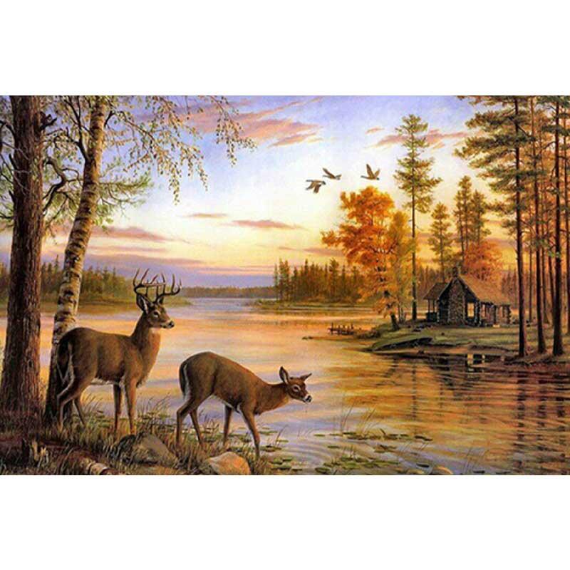 ▽3D Cuadros de punto de cruz paisaje ciervos Diamantes con piedras ...