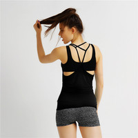 Women Solid Black Bandage Sport Vest Quick Dry Breathable Yoga Shirts Sleeveless Tank Tops Fitness Running Clothes MLYAO