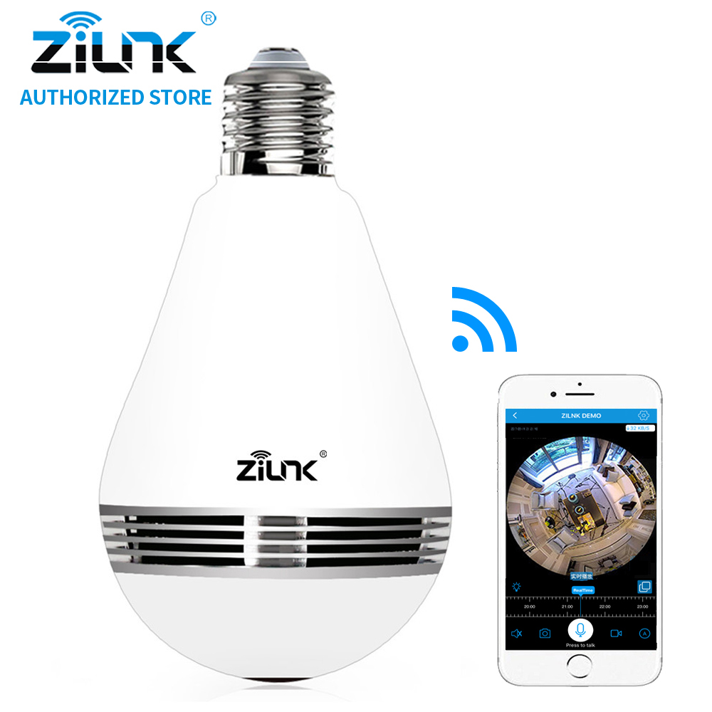 ZILNK New Mini Lamp Bulb Light WiFi Camera Fisheye 1080P HD Wireless IP Camera 360 Degree Panorama Lens Support 128GB TF Card bc 883m mirror bulb lamp camera hd 960p wifi ap hd 960p ip network camera with real light remote control 2017 new arrival