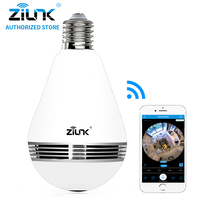 ZILNK New Mini Lamp Bulb Light WiFi Camera Fisheye 1080P HD Wireless IP Camera 360 Degree