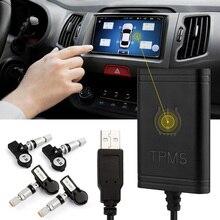 TPMS del coche Android Bluetooth Para El Reproductor de DVD Monitor de Sistema de Monitoreo de Presión de Neumáticos Inalámbrico con 4 Sensores de Neumáticos Interior