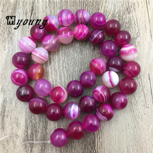 MY0070 15.5 Inch Bright Smooth Fuchsia Lace Natural Stone,Rose Round Banded Beads,6mm,8mm,10mm,12mm  цена 2017