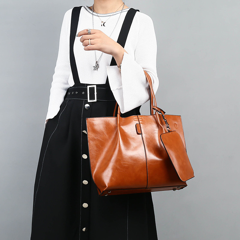 2018 Retro high quality Women Handbags Large Capacity Tote Bag Oil Leather Shoulder Bags Crossbody Bags For Women bag With Purse yasicaidi fashion women leather handbags large capacity tote bag black oil leather shoulder bag crossbody bags for women handbag