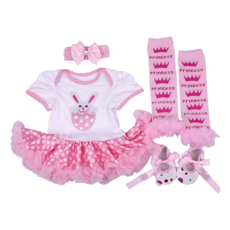 New Baby Girl Clothing Sets Infant Easter Style 4pcs Set Tutu Dress+Shoes+Headband+Leg Warmer First Easter Costumes Girls sets