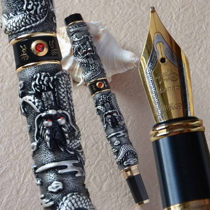 JINHAO GREY TWO DRAGON PLAY PEARL FOUNTAIN PEN MEDIUM NIB CRYSTAL italic nib art fountain pen arabic calligraphy black pen line width 1 1mm to 3 0mm
