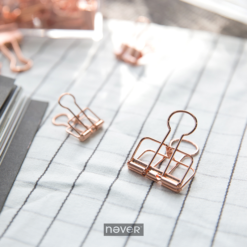 Never Rose Gold Clip Creative Office Accessories Metal Clip Klips Pink Clips Korean Stationery Fashion Business Office Supplies never valentine s day theme metal binder clips paper kawaii pink clip bookmark memo holder office accessories stationery store