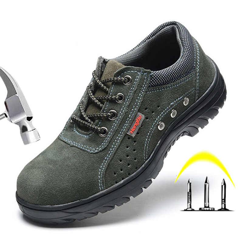 Men Shoes Steel Toe Shoes Work Safety Boot Breathable Slip On work boots Mens Labor Insurance Anti-smashing Piercing Safety Shoe