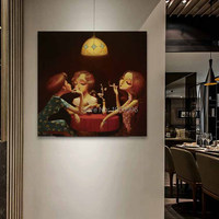 home decor three young beautiful lady girl people under light Chatting drink coffee smoking picture handmade oil painting canvas