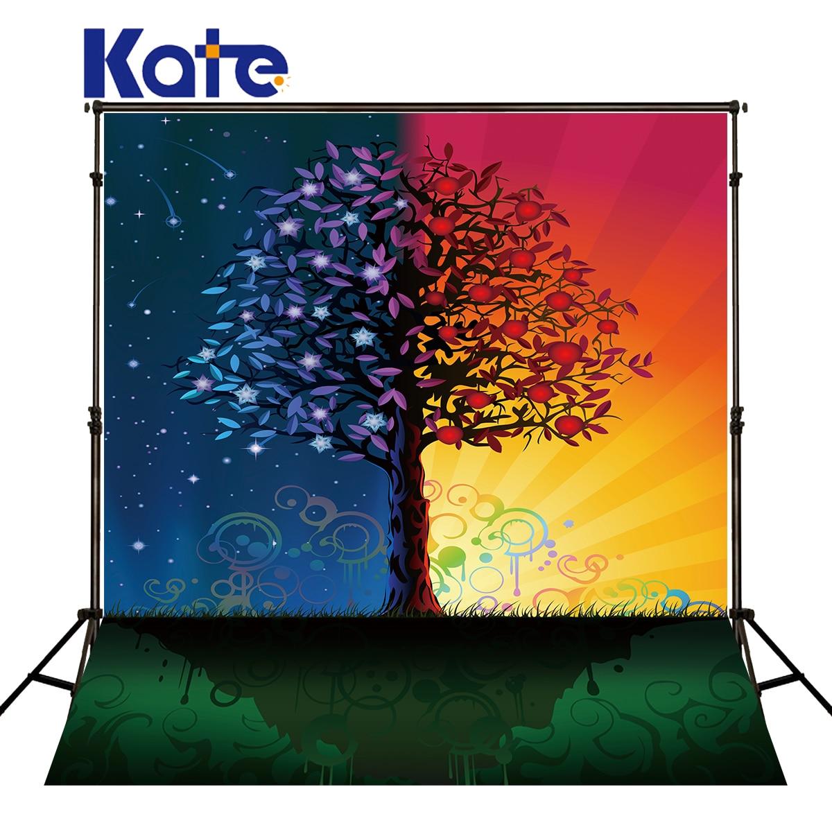 KATE couleur arbre fond photographie étoile ciel météore musique symbole pour enfants fête Photo Studio toile de fond Photocall mariage