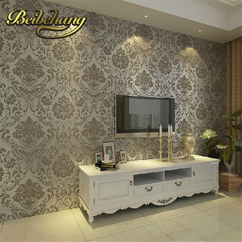 beibehang papel de parede. Non-woven embossed bedroom Modern damask wallpaper white wallcovering classic wall papers 3d wallpape beibehang papel de parede 3d non woven embossed flocking wallpaperdesign damask wall paper classic home decoration wall covering
