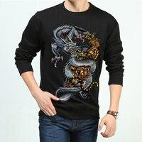 Men High Quality 3d Hoodies Dragon Tiger Printed Thicken Warm Fleece Male Pullover Hip Hop Sweatshirt