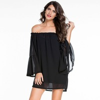 LC2201O Wholesale And Retail Summer Dress Black White Breathable Women S Clothing Long Sleeve Off Shoulder