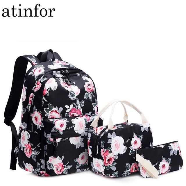 Resistant Lightweight Set Backpack Women Flower Printing Female Laptop Bagpack College School Bag for Teenager Girls Bookbag