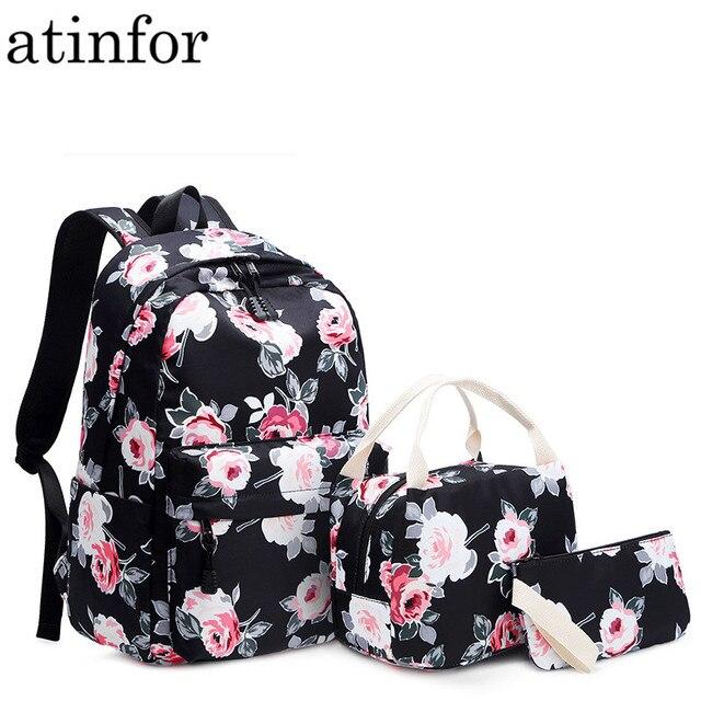 Sac à dos résistant pour femmes, ensemble léger et imprimé de fleurs, cartable pour adolescentes, sacoche pour ordinateur portable