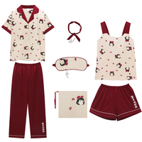 7 Pieces Womens Pajamas Sleepwear Pink Set Pyjamas Women Summer Short Sleeve Shorts Pyjamas Woman Cotton Home Wear Home Clothing