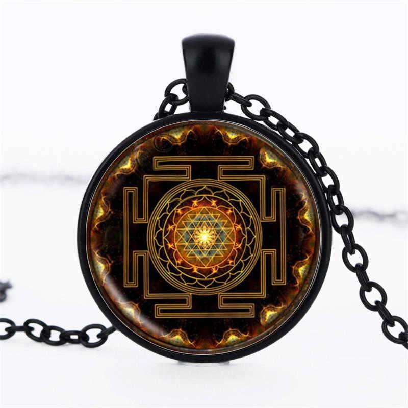Colar budista espiritual chakra, colar com pingente feminino e masculino do tipo geométrico, para meditação e oração