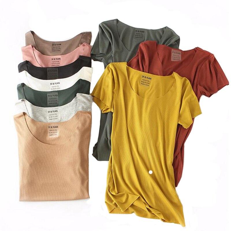 Offizielle Website Sommer Einfarbig Grund Tees Frauen Hohe Stretch Slim Fit T-shirts Lose Rundhals Tops Kurzarm 10 Farben Koreanische Mode Tropf-Trocken Gepäck & Taschen