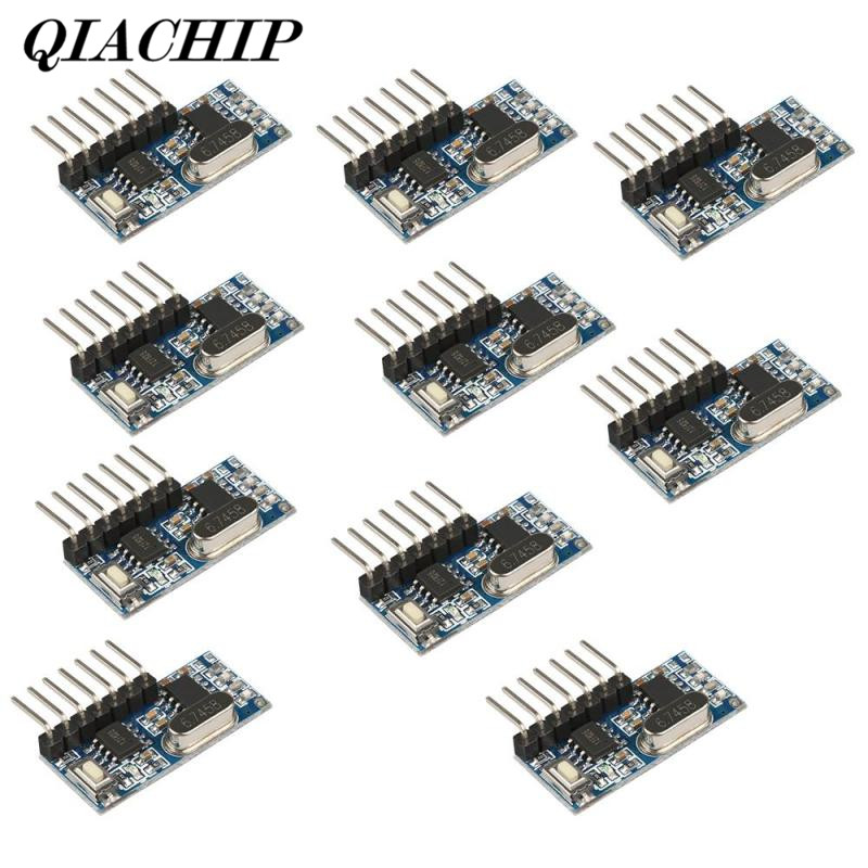 QIACHIP 10Pcs 433MHz RF Relay Receiver Module Learning Code Relay Remote Comtrol Switch 4 Channel Output For Remote Control DS25 dc12v 2 channel rf transmitter receiver wireless output gsm controler 433mhz relay controller learning code wall remote switch