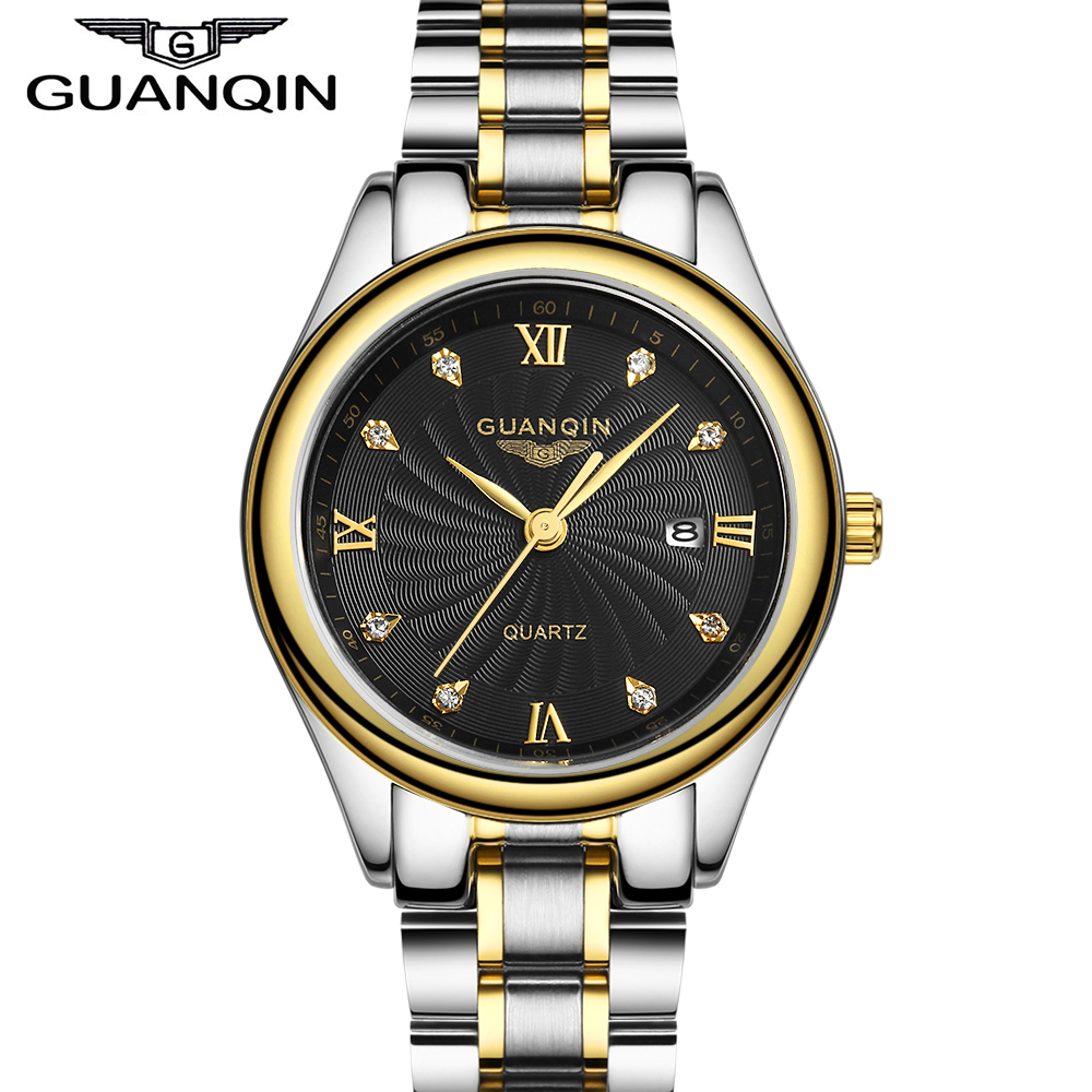ФОТО GUANQIN Women's Luxury Watches Full Stainless Steel Calendar Gold Women Ladies Quartz Watch relogio feminina