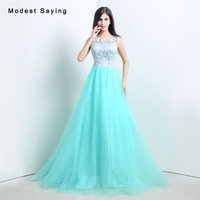 Romantic Mint Green and White A Line Lace Top Evening Dresses 2017 Women Long Engagement Birthday Party Prom Gowns Custom Made