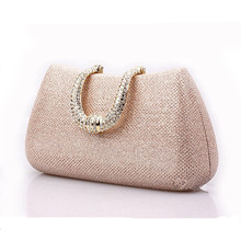 2016 Gorgeous Gold Evening Clutch Bag for Women Rhinestone Crystal Clutch Evening Purse China Handmade Bridal Purse with Chain