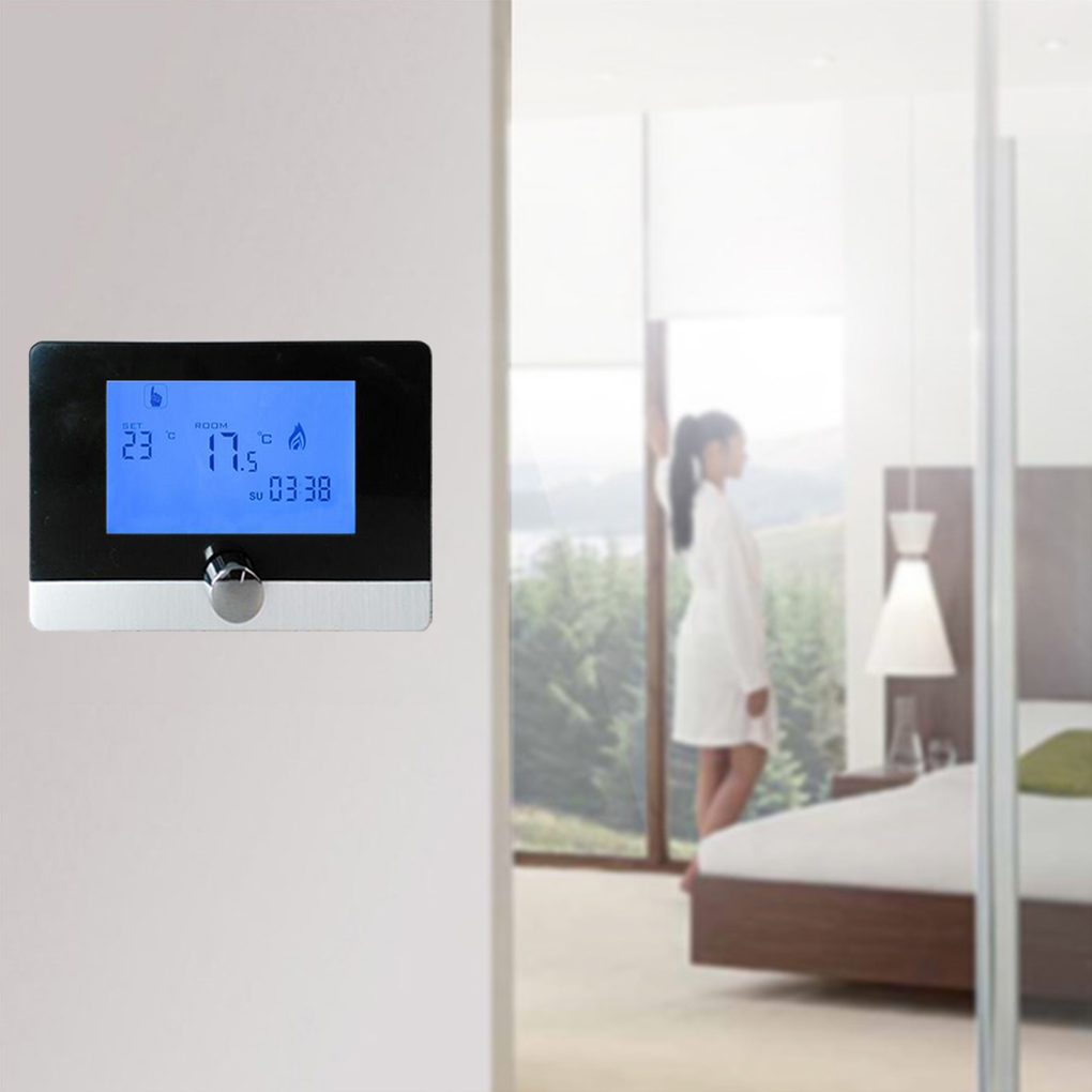Programmable Digital Room Thermostat Wall-hung Gas Boiler Heating System Temperature Controller 5A LCD Thermostat