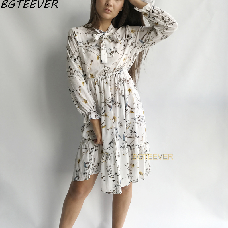 Chiffon High Elastic Waist Party Dress Bow A-line Women Full Sleeve Flower Print Floral Bohemian Dress Female Vestido Plus Size 1