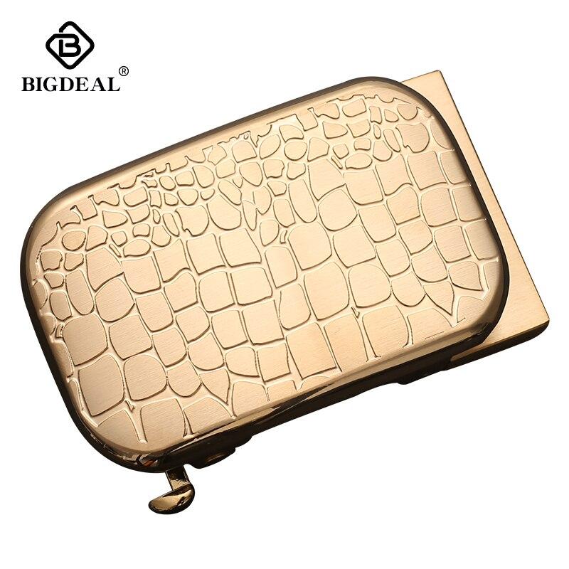 BIGDEAL Men Solid Brass Copper Automatic Buckle Designer Leather Belt Waistband Accessories 3.5CM