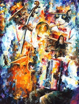 Painting for sale Colorful oil paintings Canvas jamming cats Modern Wall Art Home Decor High quality Handpainted