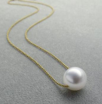 Gratis verzending>>>> noble jewelr Classic AAA 11-12mm Ronde Echte South Sea Witte Parel Ketting 18 K geel Goud