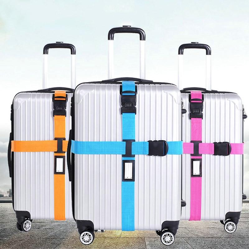 08ea8c3a6911 Багажный ремень поперечный ремень упаковка Регулируемый Дорожный чемодан  нейлон 3 цифры Пароль замок Пряжка ремень багажные ремни LXX9