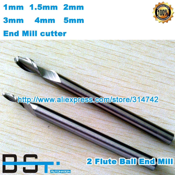 Free shipping 2 flutes HSS ball end mill 1mm 1 5mm 2mm 3mm 4mm 5mm solid