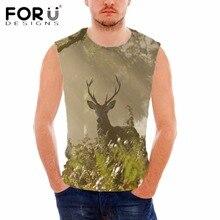 FORUDESIGNS Elaphurus Davidianus Print Men's Sleeveless Tank Tops Male Fitness Bodybuilding Clothing Camisetas Sin Mangas Hombre