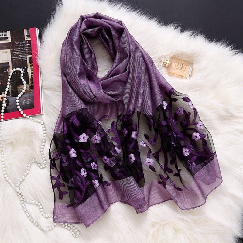 LARRIVED 2019 New Designer Brand Women Scarf Fashion Spring Summer Silk Scarves Hollow  Lady Shawls And Wraps Pashmina Foulard