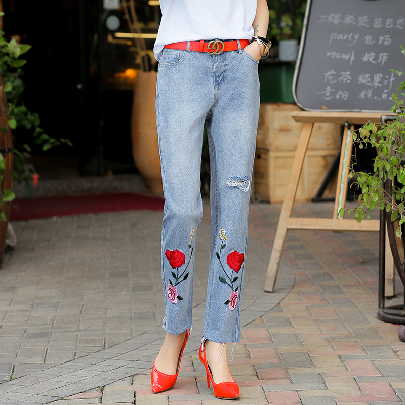 Women Spring Summer Straight Ankle Length  Hole Jeans Ladies Vintage Flower Embroidery Boyfriend Denim Pants Trousers L543 flower embroidery jeans female blue casual pants capris 2017 spring summer pockets straight jeans women bottom a46
