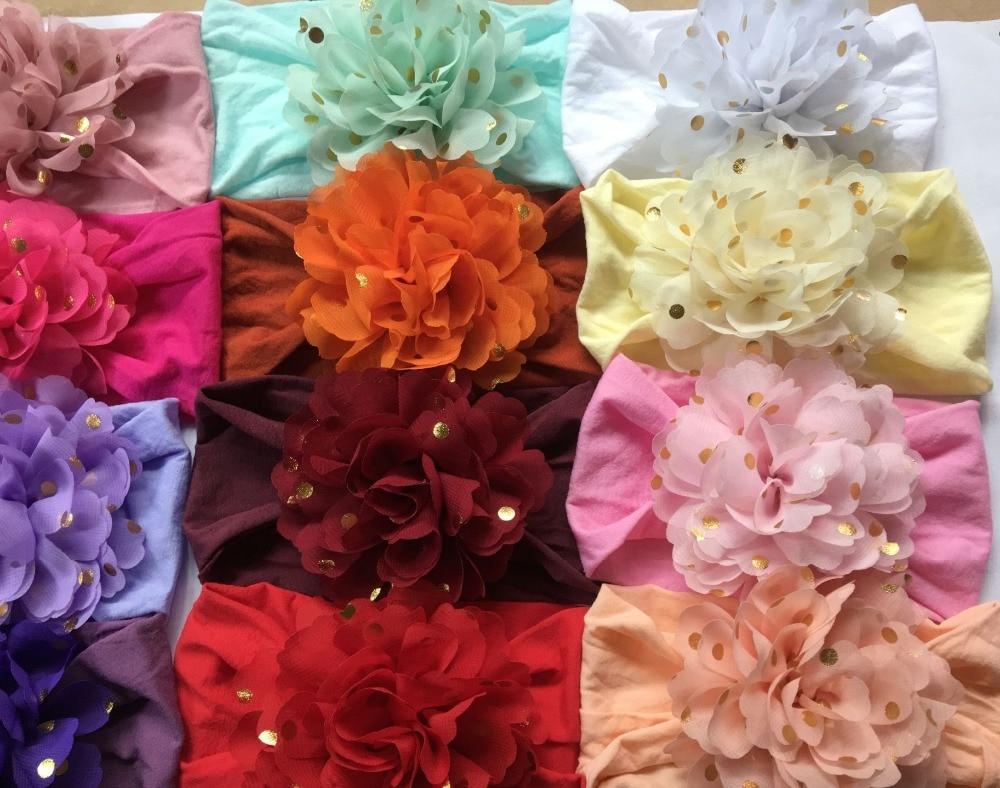 30pc lot 2018 New Dot Stamp Chiffon Flower Nylon Headbands Girls Soft Wide Nylon Headbands Children