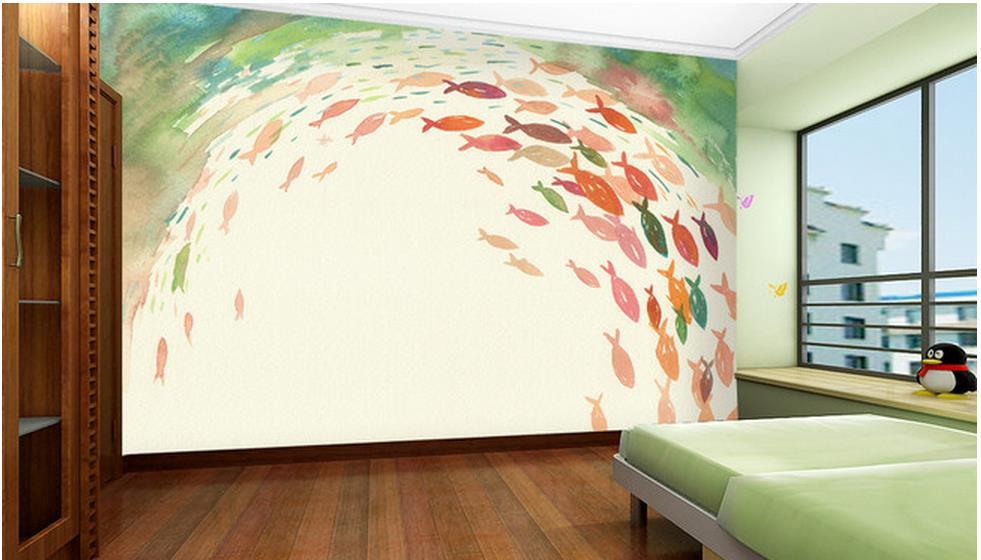 Customized 3d Photo Wallpaper 3d Wall Murals Wallpaper Hand Painted Fish  Background Wall Paper 3d Living Room Wallpaper In Wallpapers From Home  Improvement ... Pictures Gallery