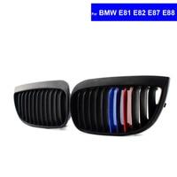 2Pcs M Color Car Front Hood Kidney Grille Grill For BMW E81 E82 E87 E88 LCI
