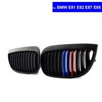 2Pcs M Color Car Front Hood Kidney Grille Grill for BMW E81 E82 E87 E88 LCI 2008 2011 Auto Bonnet Racing Grills