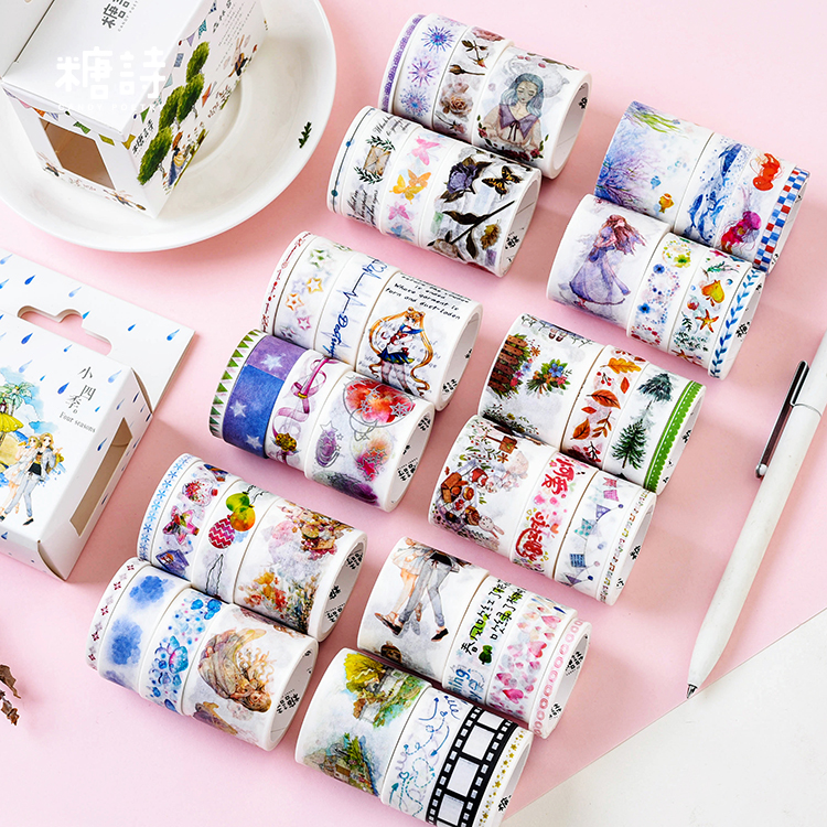 8pcs/pack Animals Forest Washi Tape Set Diy Decoration Scrapbooking Planner Masking Tape Adhesive Tape Label Sticker Stationery