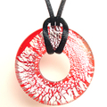 RED SNAKE Silver Red Round Murano Glass Pendant Necklace