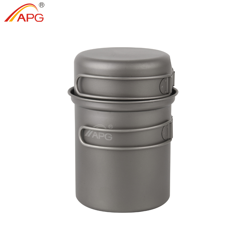 лучшая цена APG Camping Tableware Titanium Pot Pan Bowl With Folding Handle Outdoor Picnic Cooking Cookware