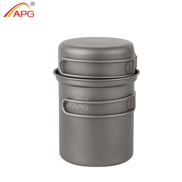 APG Camping Tableware Titanium Pot Pan Bowl With Folding Handle Outdoor Picnic Cooking Cookware