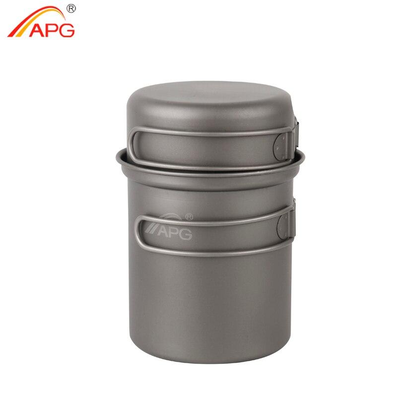 APG Camping Vaisselle Titane Pot Pan Bol Avec Poignée Rabattable En Plein Air de Pique-Nique Cuisson Ustensiles de Cuisine