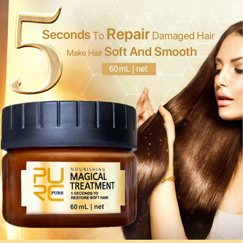 PURC Magical Keratin Hair Treatment Mask 5 Seconds Repairs Damage Hair Root Hair Tonic Keratin Hair & Scalp Treatment 60mlTSLM2