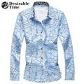 Плюс Размер Мужчины Печати Рубашка С Длинным Рукавом Мода 2017 Весна Темно-Синий Случайные Футболки Для Мужчин DT436
