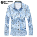Plus Size Men Print Shirt Long Sleeve Fashion 2017 Spring Navy Blue Casual Shirts For Men DT436