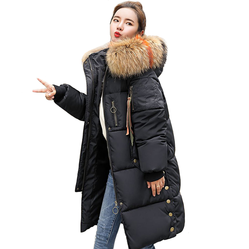 Oversize Loose 2019 New Fashion Female Coat Coats Long Warm   Parka   Womens Winter Jackets Coats Cotton Padded   Parka   Camperas