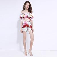 XF 1225 8 213 2019 Bohemian Set Fashion Designer Summer Women'S Collar Sleeveless Shoulder Sexy Rose Print + Shorts Beach Set